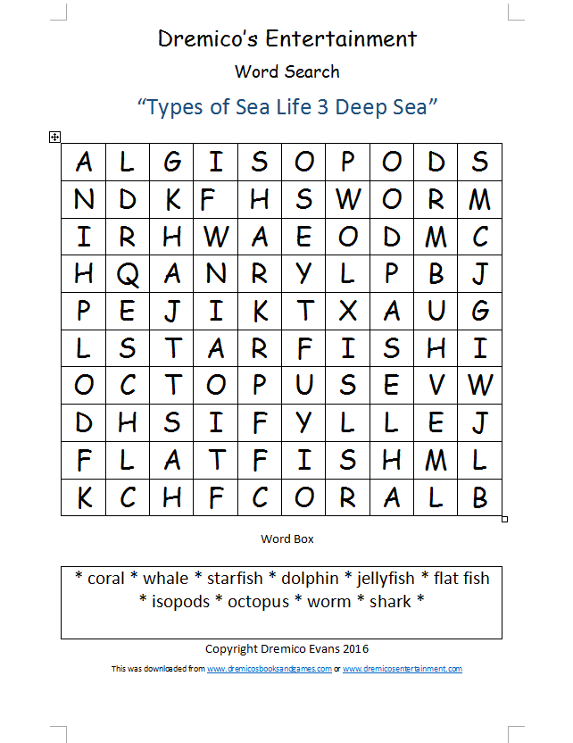 Word Search 13: Types of Sea Life 3