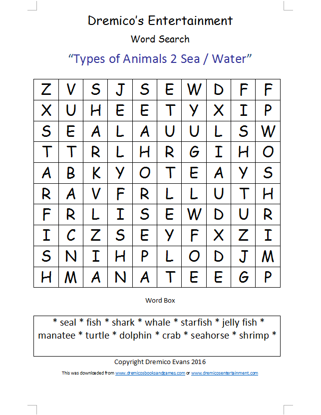 Word Search 15: Types of Animals 2 Sea / Water