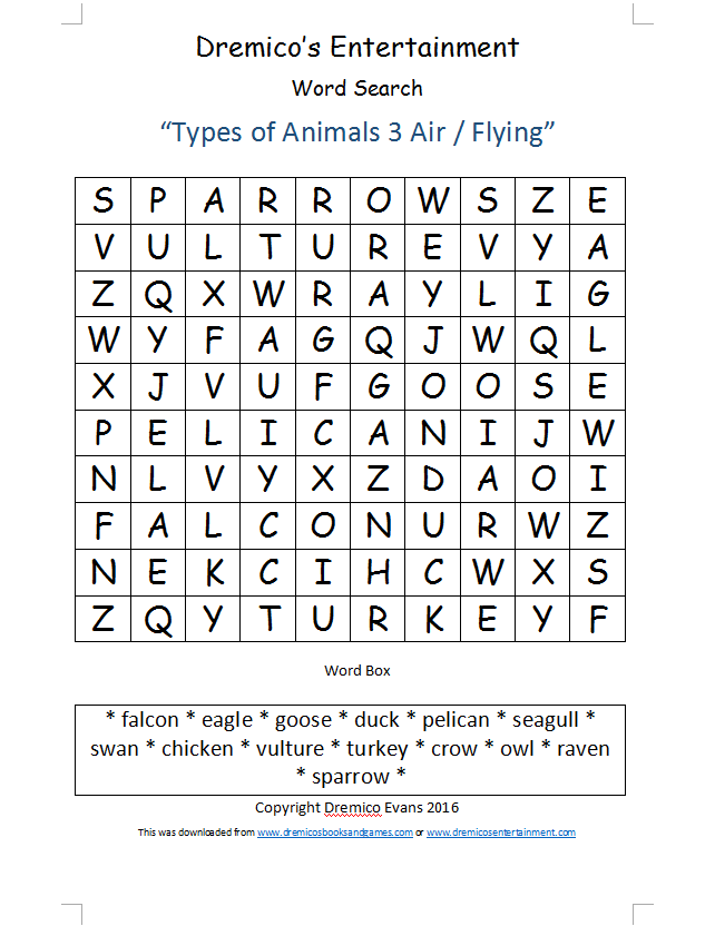 Word Search 16: Types of Animals 3 Air / Flying