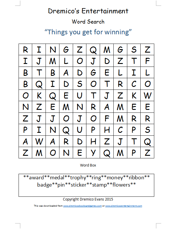 Word Search 30: Things you get for winning
