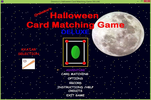 Dremico's Adventure Card Matching Game old game title style